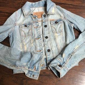 Hollister denim jean jacket distressed light wash